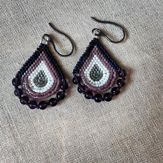 Beadwork earrings with glass beads  - Purple