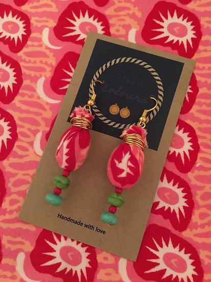 Fabric oval drop earrings