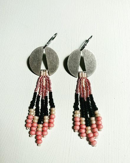 Lace - Silver Disk Pink beadwork earrings