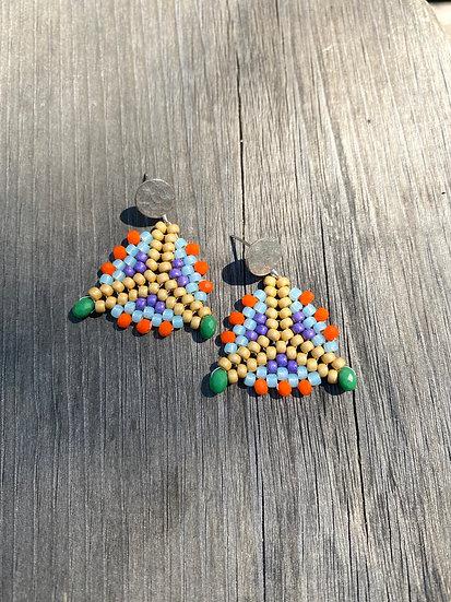 Shapes Triangle Small  - Beadwork triangle earrings