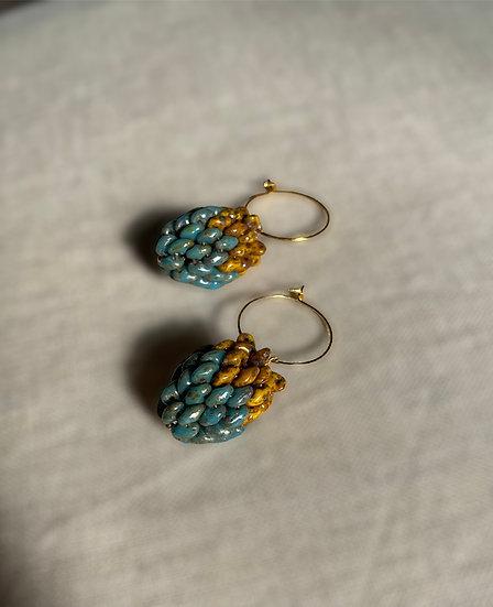 Berries Blue - hoop earrings with a beaded berry