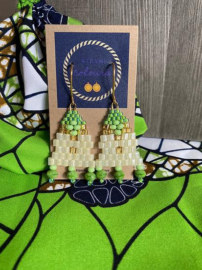Candy Floss Green - Beadwork earrings