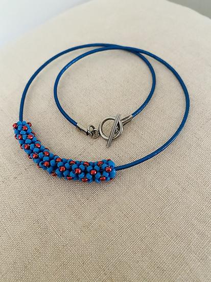 Tubes - beadwork necklace - Blue