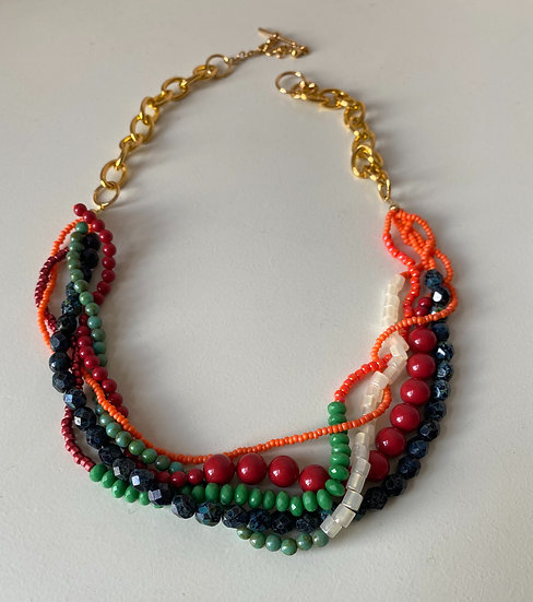 Multi layered  torsade necklace - Green & Red