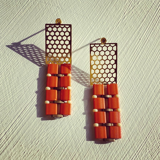 Beehive - beadwork earrings with gold plated studs