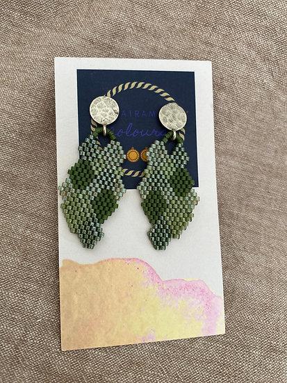 Honeycomb Green - Beadwork earrings