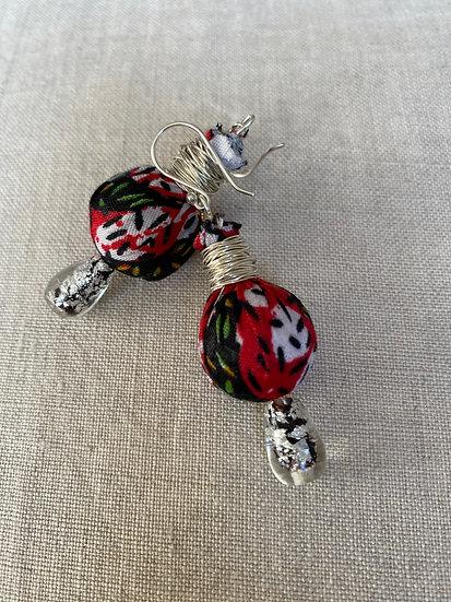 Fabric ball drop earrings