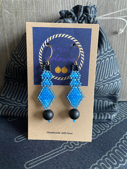 Small beadwork earrings with black agate - Blue