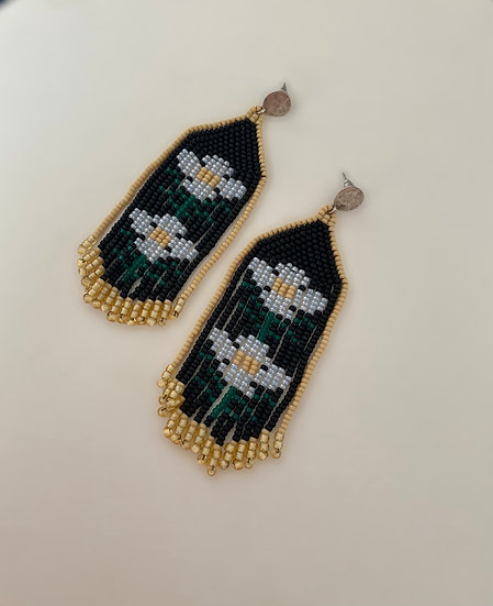 Folk Chamomile - beadwork earrings with silver plated flat studs