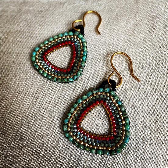 Fan Green - Beadwork triangle earrings
