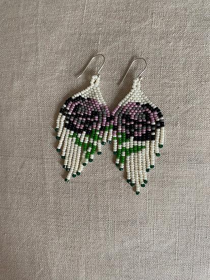 Beadwork fringe earrings - Roses