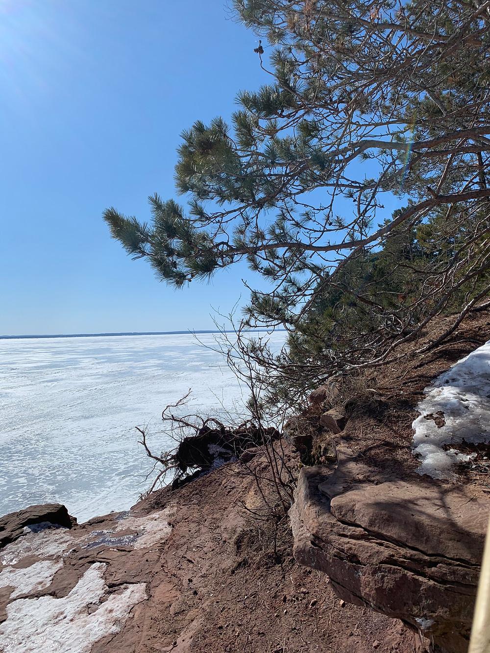 Winter hiking Bayfield, Wi