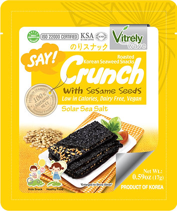 SAY CRUNCH SEAWEED,SOLAR SEA SALT &  SESAME FLAVOR