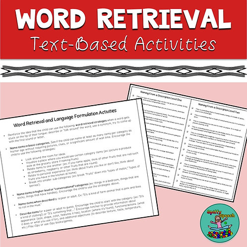 Word Retrieval: Text-Based Activities