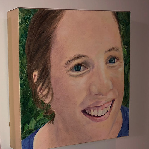 10 in. x 10 in. Coloured pencil portrait mounted on birch panel