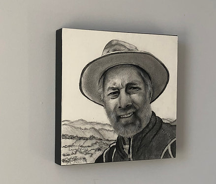 10 x 10  Charcoal  portrait mounted on birch panel