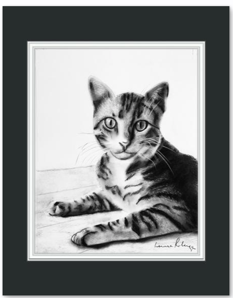 8 x 10 charcoal portrait with 11 x 14 mat, ready to be framed