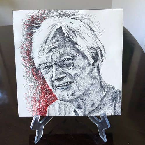 10 in. x 10 in. Ink portrait mounted on birch panel