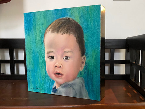 10 in. x 10 in. Pastel  portrait mounted on birch panel