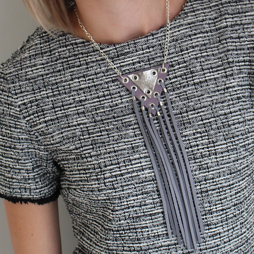 'Volt' Geometric Leather Tassel Necklace
