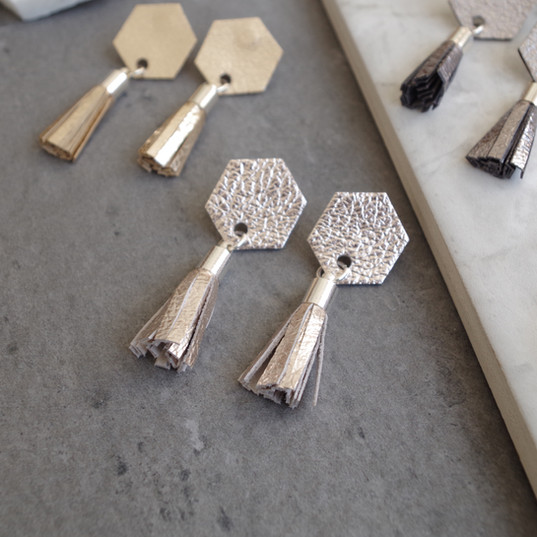 TessaMarieCox_Hexagon Tassel Earrings_Ch