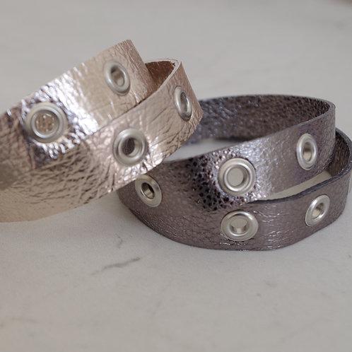 Leather Eyelet Wrap Bracelet