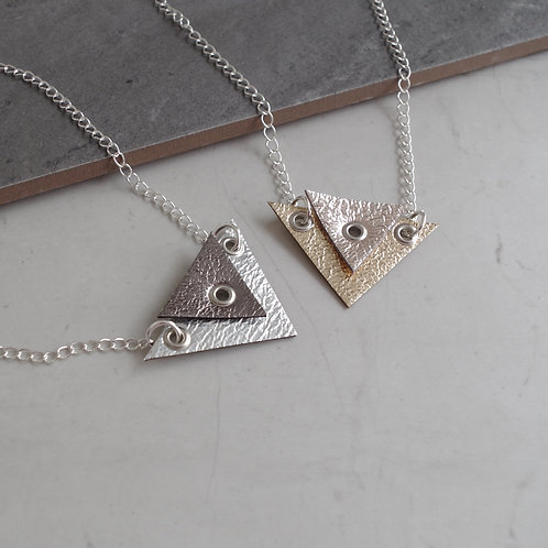 'Zonite' Geometric Leather Double Triangle Necklace