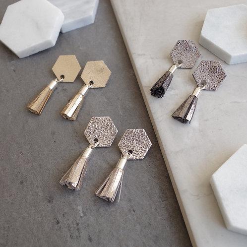 Leather Hexagon Tassel Earrings