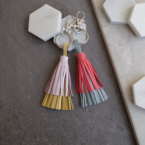 Double Layered Leather Tassel Keyring