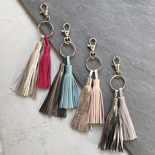 'Borla' Leather Handmade Metallic Tassel Keyring