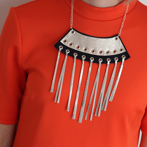 'Axle' Geometric Metallic Leather Tassel Necklace