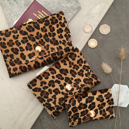 Leopard Ponyskin - passport, purse, card holder