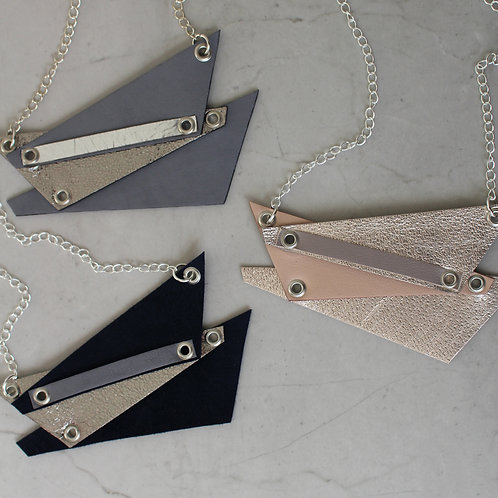 'Shard' Geometric Metallic Leather Necklace