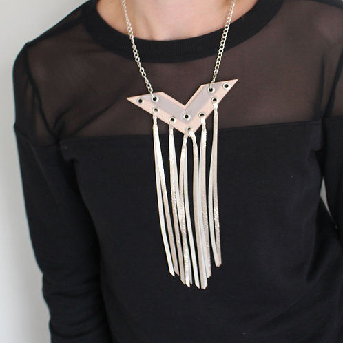 'Digit' Geometric Metallic Leather Tassel Necklace