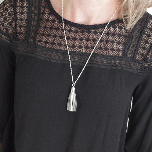 Minimalist Leather Tassel Long Pendant Necklace
