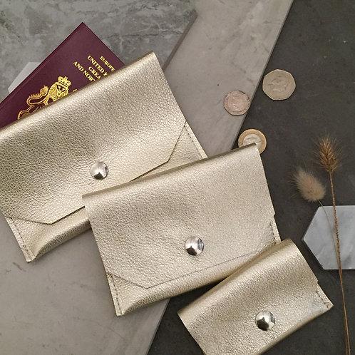 Platinum Metallic Leather - passport, purse, card holder