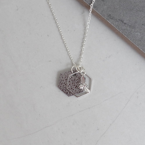 Bee and Hexagon Necklace