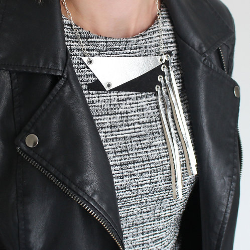 'Fragment' Geometric Metallic Leather Necklace