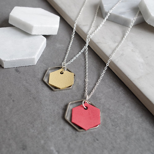 Leather Hexagon Charm Necklace