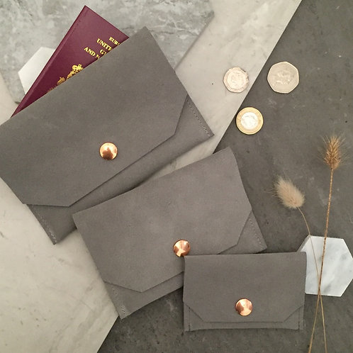 Grey Suede - passport, purse, card holder
