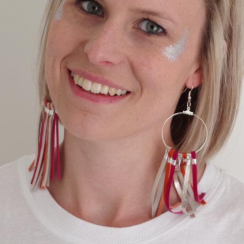 Leather Tassel Hoop Earrings