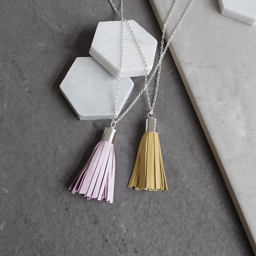 Long Leather Tassel Pendant Necklace
