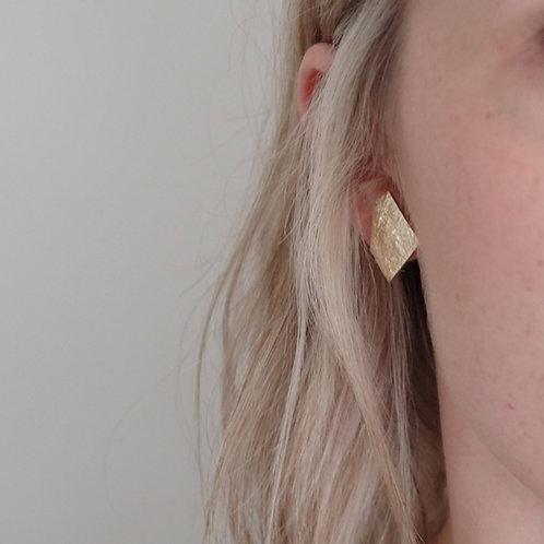 Geometric Odd Shape Metallic Leather Earrings