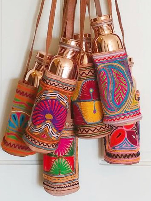 Embroidered Water Bottle Bag