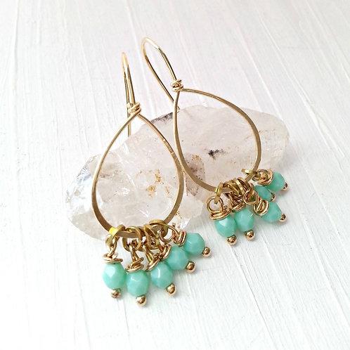 Pale Teal Brass Beaded Earrings