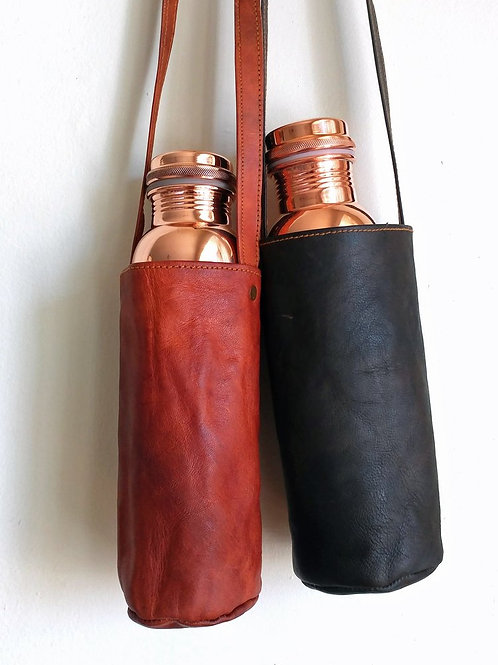 Brown Leather Water Bottle Bag