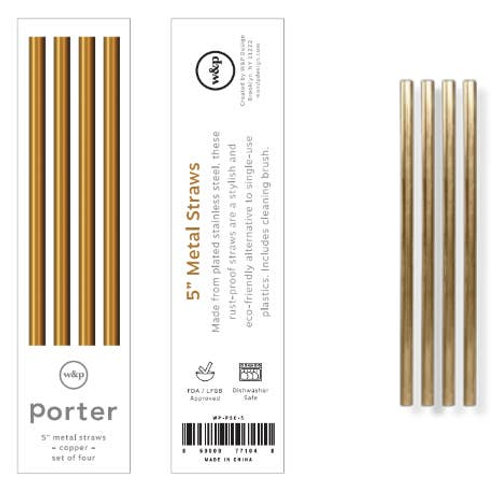 """Porter 5"""" Metal Straws, Set of 4 with Cleaner"""