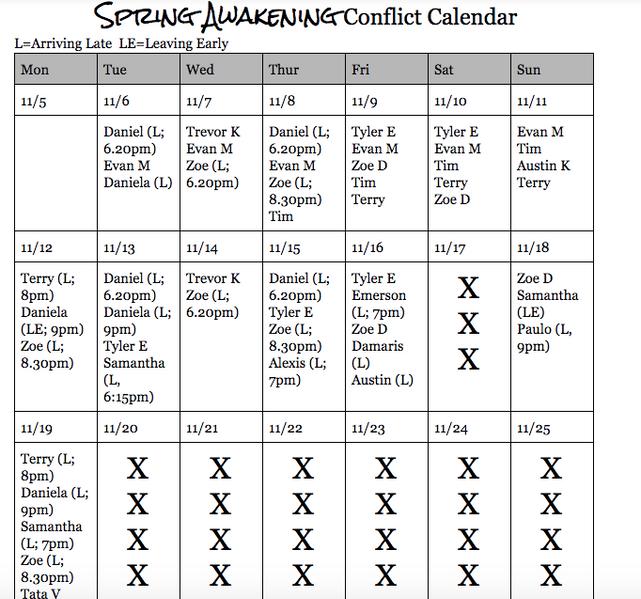 Sample Conflict Calendar