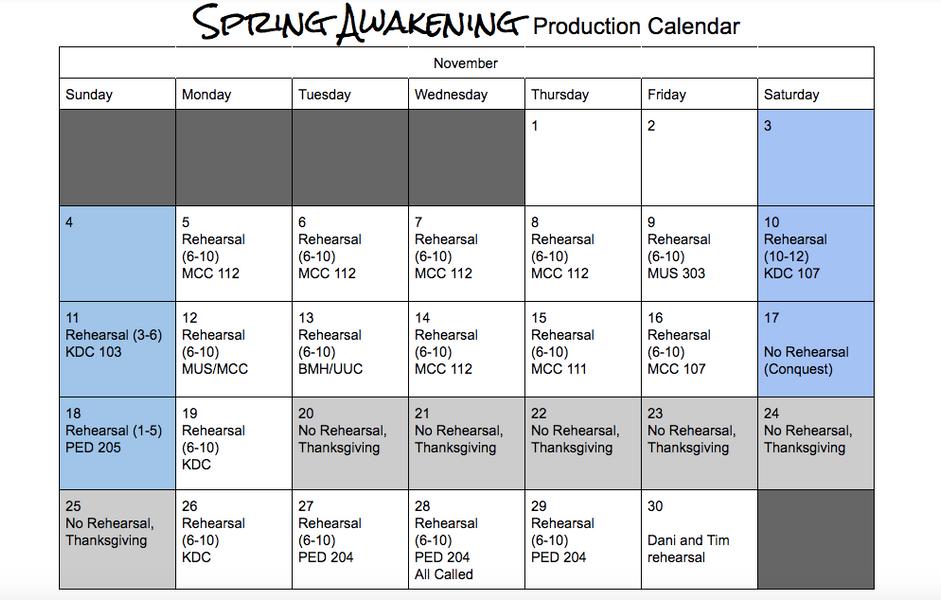 Sample Production Calendar