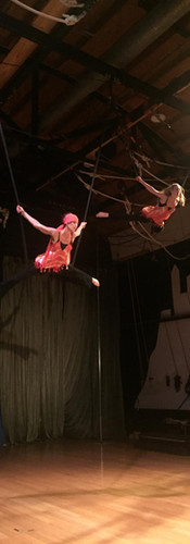 """Rehearsal for EPIC-EST in 2016 with Melissa Wilson on bungees. So much fun and so terrifying at the same time! Music was The Who's """"Baba O'Riley"""" and we literally were pulled as far back as the bungees would stretch (by our friends) and shot across the room."""